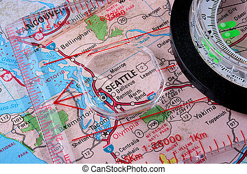 Map Seattle - USA map with the city of Seattle and a compass...