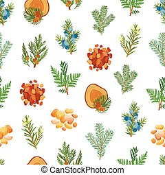Coniferous, pine, wood and resin seamless pattern
