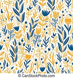 Gold and dark blue floral seamless pattern