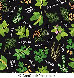 Herbs and spices seamless pattern on black background