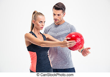 Woman workout with fitness ball