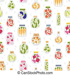 Preserved vegetables in jars seamless pattern
