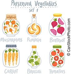 Preserved vegetables in jars set 1 - Collection of 6...