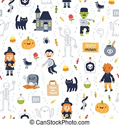 Halloween super seamless pattern on white background