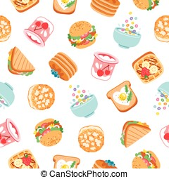 Breakfast seamless pattern - Breakfast yummy food seamless...