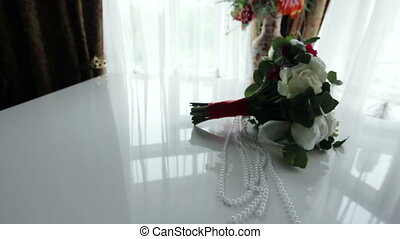 Wedding bouquet on the piano - Beautiful bridal bouquet on a...
