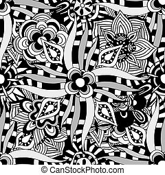 Ornament Pattern - Seamless Abstract Tribal Pattern Hand...