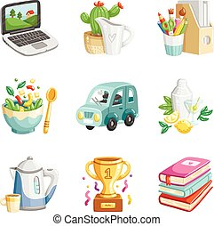 Colorful miscellaneous icons collection - Collection of 9...