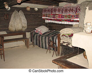 Interior of a traditional house in Maramures, Romania