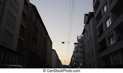 driving through the streets of stuttgart during the sundown...