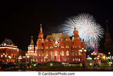 Festive fireworks against the historical museum on Red Square in Moscow
