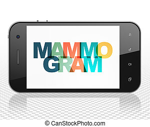 Medicine concept: Smartphone with Mammogram on display -...