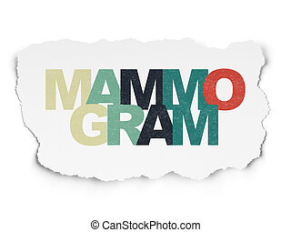 Medicine concept: Mammogram on Torn Paper background -...