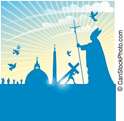 vatican city symbol with pope on background