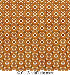 Orange and White Maltese Cross Symbol Tile Pattern Repeat...
