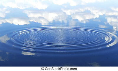 circles flow along surface of water