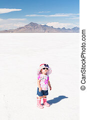Bonneville Salt Flats - Cute toddler playing at Bonneville...