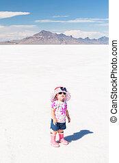 Bonneville Salt Flats - Cute toddler playing at Bonneville...