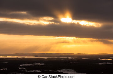 Lapland landscape aerial and bright sunlight