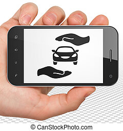 Insurance concept: Hand Holding Smartphone with Auto...