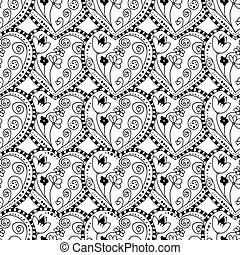 seamless heart background - Seamless grayscale Sketchy...