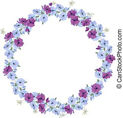 Detailed contour wreath with anemone flowers isolated on...