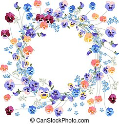 Detailed contour wreath withviola and forget-me-not flowers...