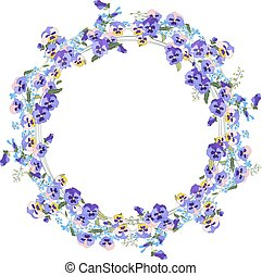 Detailed contour wreath with forget-me-nots and viola flowers isolated on white.