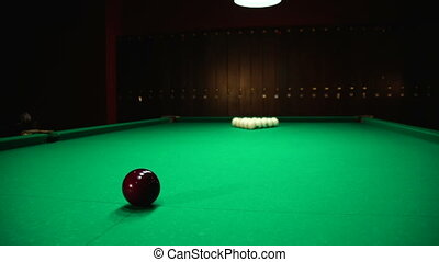 white and black ball - Russian billiards, board game on a...