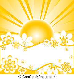 colorful summer background with daisies, - illustration of...