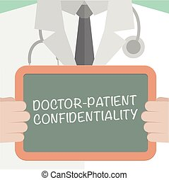 Confidentiality - illustration of a doctor holding a...