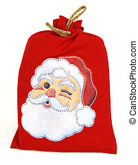 santa bag - red santa bag isolated at white background