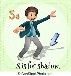 Flashcard alphabet S is for shadow