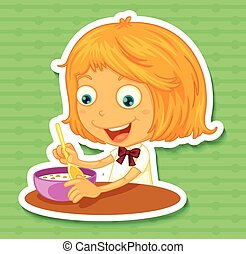 Little girl eating on the dining table illustration