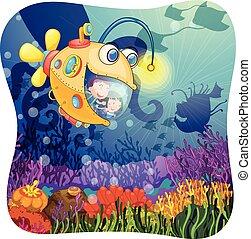 Children in submarine under the water illustration