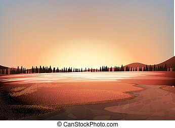 Silhouette field with pine trees background illustration