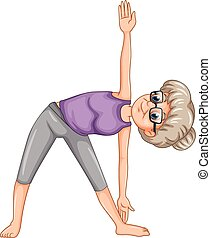 Old lady doing yoga illustration