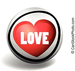 Word love on round badge