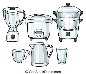 Electronic equipment using in kitchen illustration