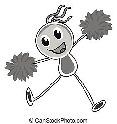 Little girl cheering with pom pom illustration