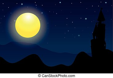 Silhouette scene of castle on fullmoon night