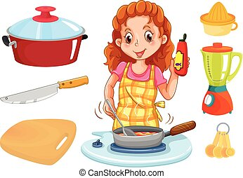Woman cooking and kitchenwares