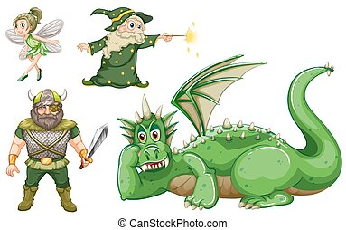 Fairy tale characters in green illustration