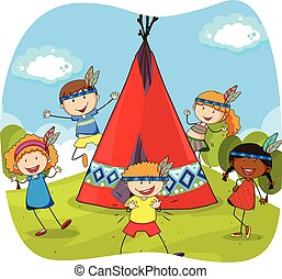 Children playing indians by the teepee illustration