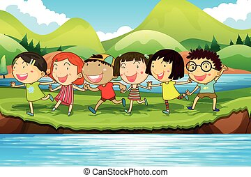 Children having fun at the pond illustration