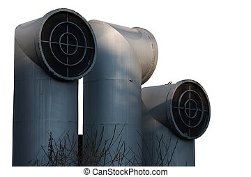 industrial pipes isolated with clipping path