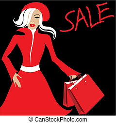 Shopping. Sale - Stylish woman with purchases. Shopping....