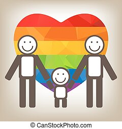 gay family - Gay family silhouettes on a gray background.
