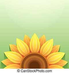 Green background with 3d sunflower