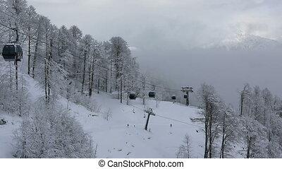 Gondola ski lift in Rosa Khutor Alpine Resort - Sochi,...